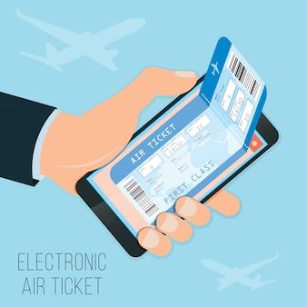 Acquistare un biglietto online, biglietto elettronico nello smartphone per un volo in prima classe.