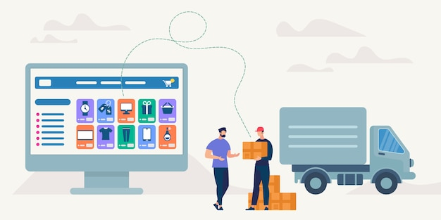 Acquisti e consegna online. illustrazione vettoriale