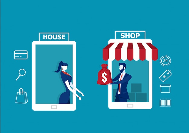 Acquisti e consegne online. app negozio online. vendite e-commerce, acquisti online, illustrazione.