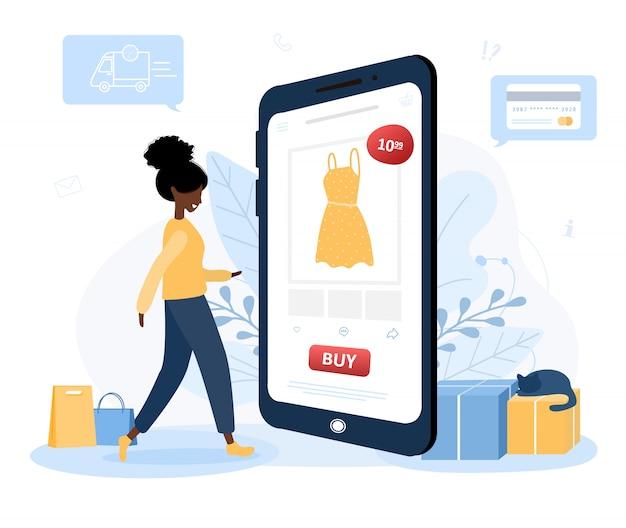 Acquisti online. consegna abbigliamento. un negozio di donna in un negozio online seduto su un pavimento. il catalogo prodotti nella pagina del browser web. resta a casa sullo sfondo. quarantena o autoisolamento. stile piatto.
