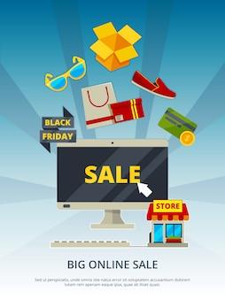 Acquisti online. dai prodotti sul sito web app mobile pagamento estore su cartello o poster di marketing per pc