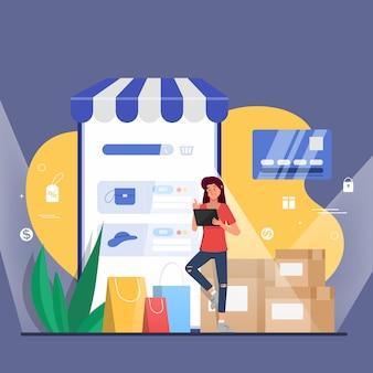 Acquisti online e consegna per il modello della pagina di destinazione web del cliente.