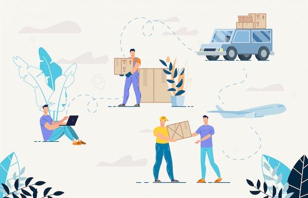 Acquisti online e set di servizi di consegna merci