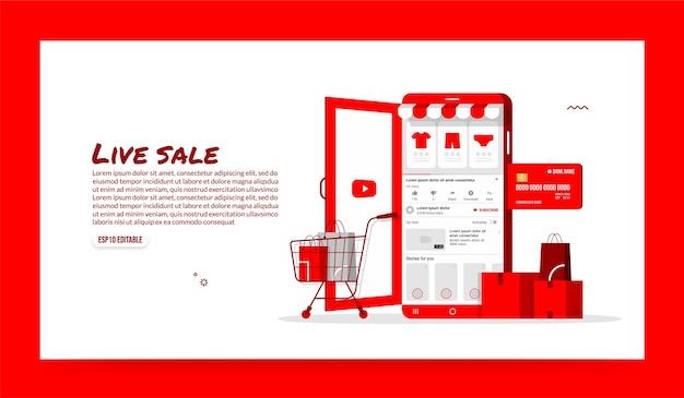 Acquisti online su applicazioni di social media, negozio di dispositivi mobili e concetto di e-commerce