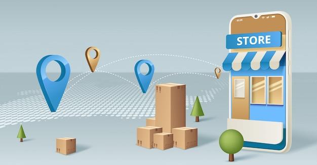 Acquisti online sul sito web o sul concetto di applicazione mobile marketing e marketing digitale.