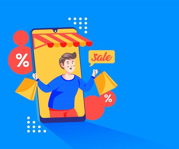 Acquisti promozioni di sconto online con uno smartphone e un megafono