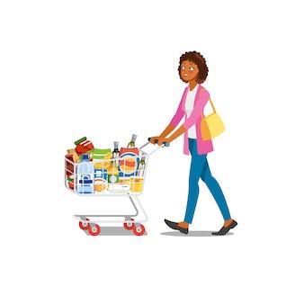 Acquisto della donna nel vettore del fumetto del negozio di alimentari