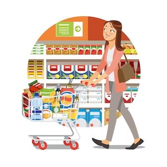 Acquisto della donna nell'icona di vettore del fumetto del negozio di alimentari