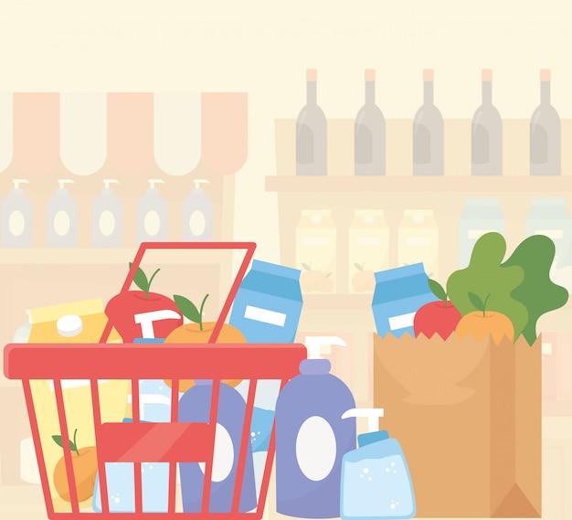 Acquisto in eccesso del supermercato dell'alimento pieno del cestino di carta e del cestino della spesa