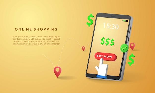 Acquisto online 3d con l'illustrazione dello smartphone