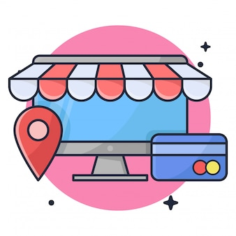 Acquisto online con l'illustrazione dell'icona della carta di credito e di posizione