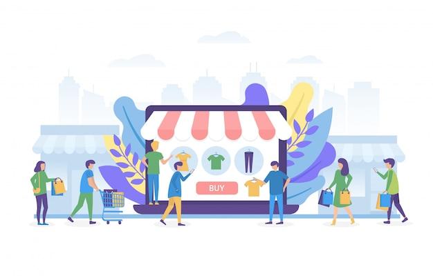 Acquisto online su internet, concetto online dell'illustrazione del negozio della gente isolato.