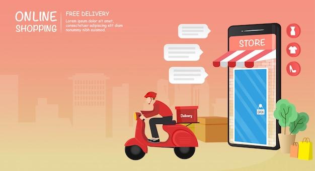 Acquisto online sul sito web o sull'applicazione mobile con l'illustrazione dell'uomo di servizio di consegna