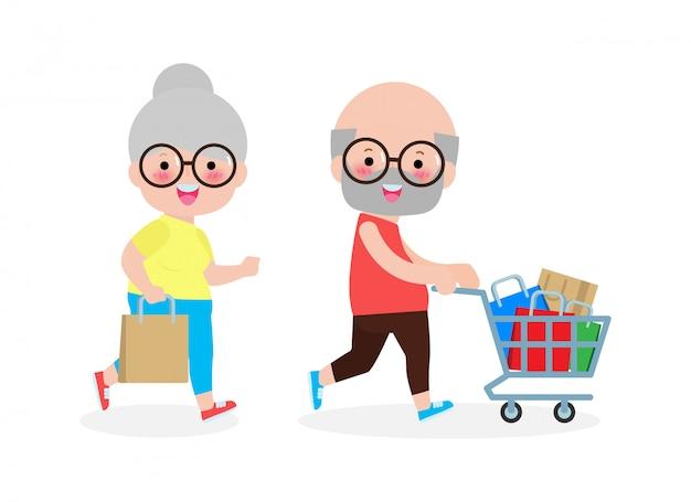 Acquisto senior felice delle coppie, uomo anziano e donna anziana con gli acquisti sul carrello, concetto sveglio di acquisto degli anziani, grande vendita. acquisto di beni e regali. illustrazione di sfondo