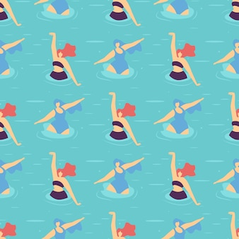 Active summer positive motivate seamless pattern