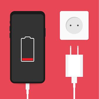 Adattatore per caricabatterie per smartphone e presa elettrica, notifica di batteria scarica. illustrazione di riserva di vettore