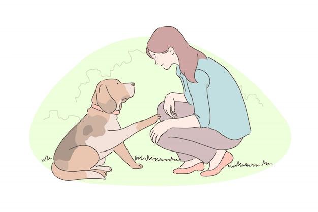 Addestramento del cane, adozione degli animali, concetto di attività di beneficenza
