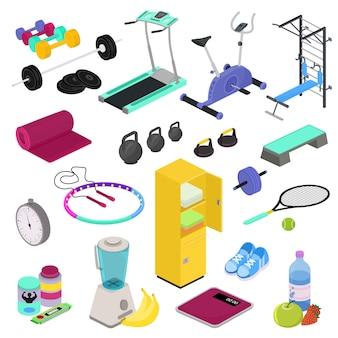 Addestramento di allenamento del club della palestra dell'attrezzatura di forma fisica con i pesi di culturismo del dumpbell nell'insieme isometrico dell'illustrazione di sportclub