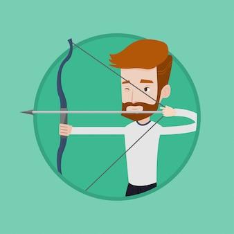 Addestramento di archer con l'illustrazione di vettore dell'arco.