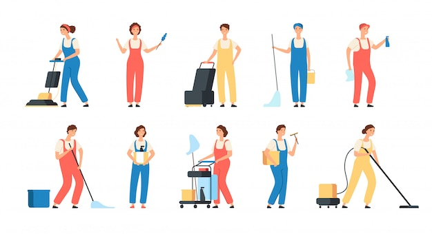 Addetti ai servizi di pulizia. caratteri femminili dell'attrezzatura domestica della lavatrice della lucidatura del pavimento di zazzera delle domestiche del pulitore maschio