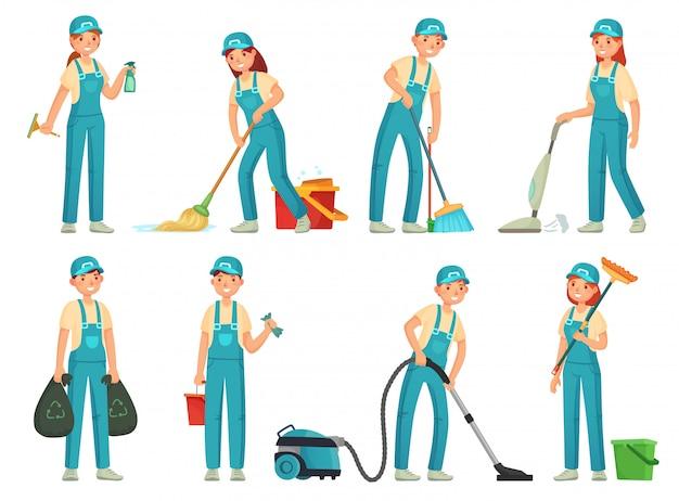 Addetti alle pulizie. personale addetto alle pulizie professionale, addetto alle pulizie domestiche e attrezzature per la pulizia. set di cartone animato pulito casa