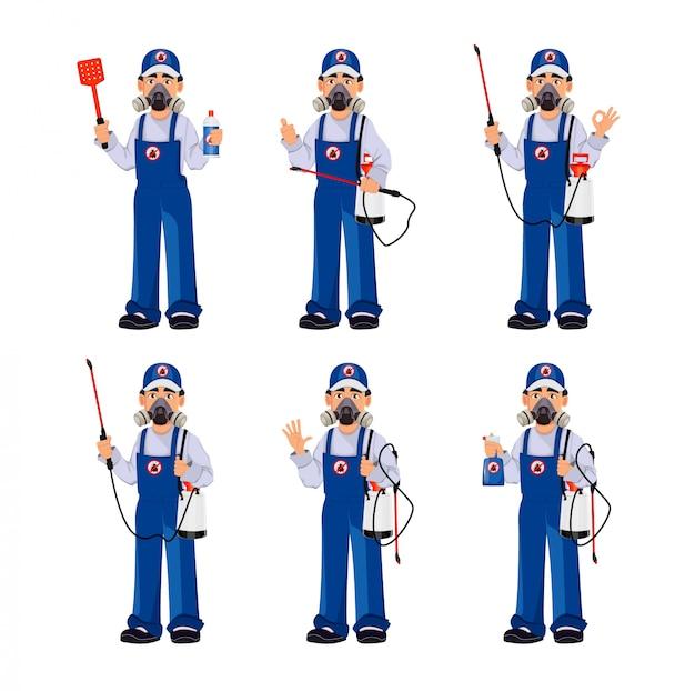 Addetto al controllo dei parassiti in indumenti da lavoro protettivi