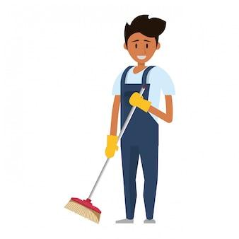 Addetto alle pulizie con prodotti e attrezzature per la pulizia