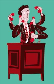 Addetto alle vendite che risponde a tutti i telefoni contemporaneamente
