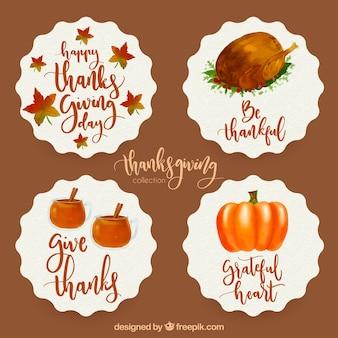 Adesivi ad acquerello di ringraziamento piacevole