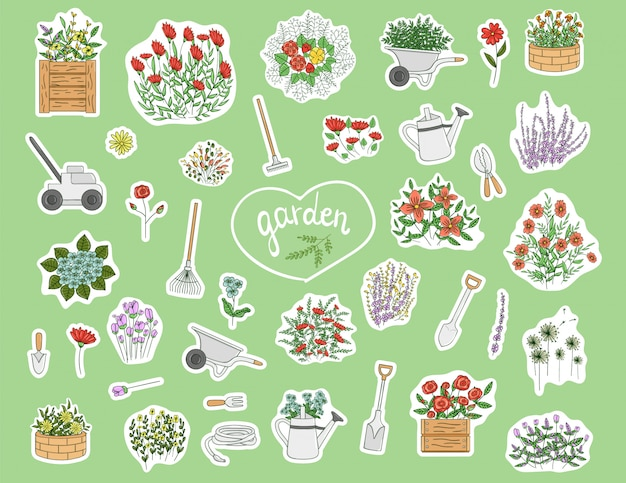 Adesivi con attrezzi da giardino, fiori, erbe e piante
