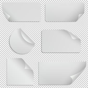 Adesivi di carta e striscioni con angoli arricciati