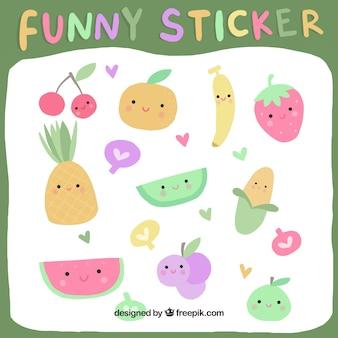 Adesivi divertenti di frutta con stile disegnato a mano