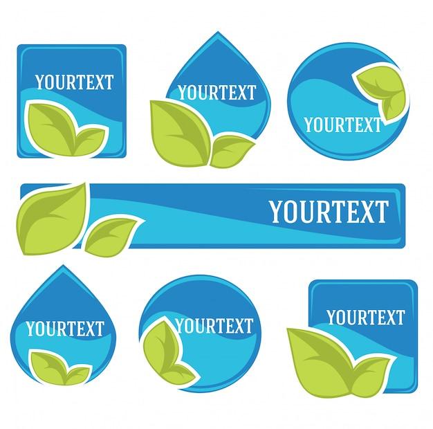 Adesivi e simboli di acqua dolce per il tuo testo
