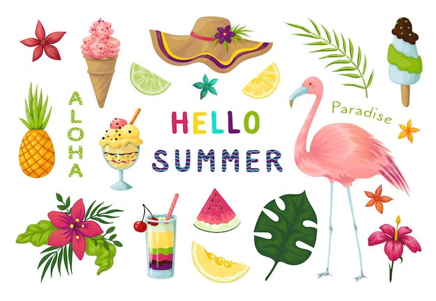 Adesivi esotici. elementi tropicali estate carina, fenicotteri rosa frutti cocktail fiori foglie raccolta scrapbook. adesivi estivi