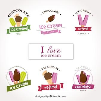 Adesivi fantastici con gelati gustosi