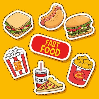 Adesivi fast food pop art
