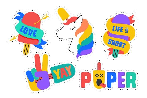 Adesivi gelato. divertenti adesivi colorati per marchio di gelati, negozio, bar, tema gelato. design cartoon stckers, spille, toppe chic, distintivi isolati su sfondo bianco.