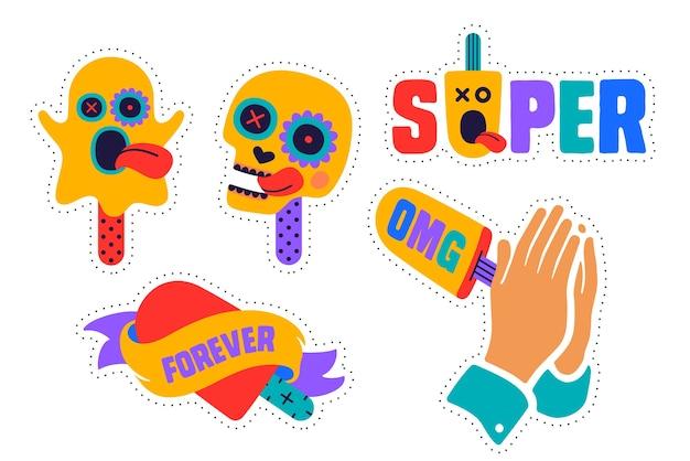Adesivi gelato. divertenti adesivi colorati per marchio di gelati, negozio, bar, tema gelato. stckers dei cartoni animati, spille, toppe chic. illustrazione