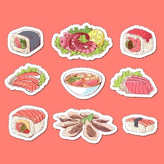 Adesivi isolati piatti di cucina giapponese