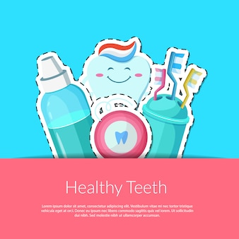 Adesivi per l'igiene dei denti dei cartoni animati in tasca