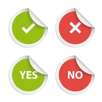Adesivi vettoriali con consenso e rifiuto