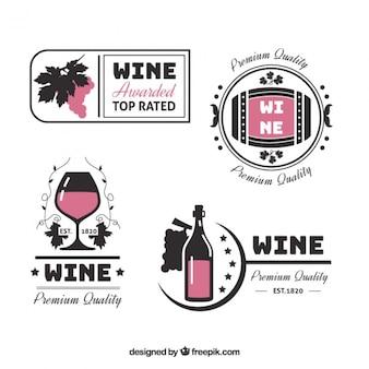 Adesivi vino decorativi in stile piatto
