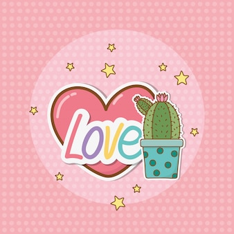 Adesivo cactus in stile kawaii