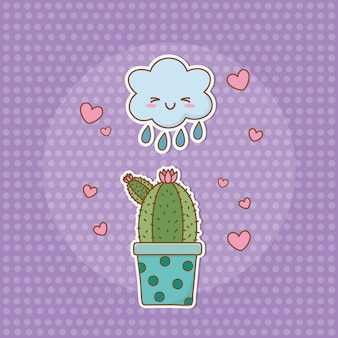 Adesivo cactus stile kawaii