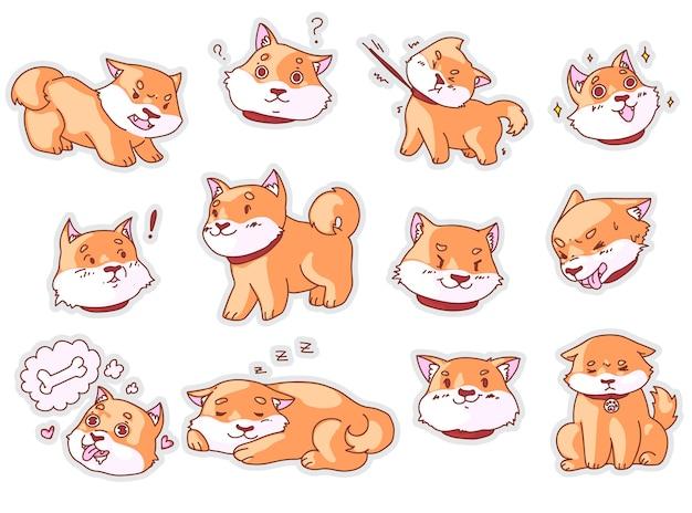 Adesivo cane divertente. museruola da cucciolo e set di adesivi emoji mascotte cane divertente. carattere di emoticon pedigree mammifero comico su priorità bassa bianca. illustrazione di cucciolo triste, arrabbiato, confuso, felice