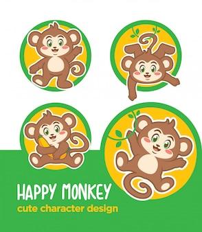 Adesivo cartoon scimmia mascotte animale