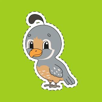 Adesivo con contorno. uccello di quaglia. personaggio dei cartoni animati.