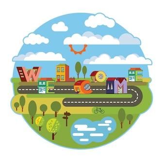 Adesivo di benvenuto paesaggio urbano della città alfabetica in stile piano. illustrazione di carattere fatto a mano