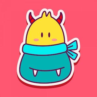 Adesivo doodle mostro carino
