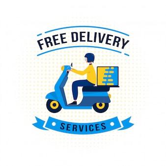 Adesivo etichetta servizio di consegna gratuita